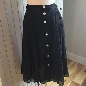 🍁Coldwater Creek sz L black skirt mid-shin length